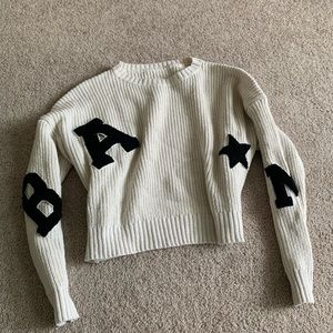 Shein Cropped Letter Sweater